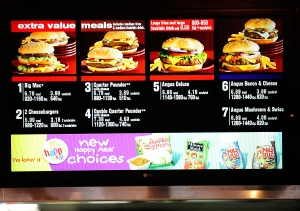 A menu displays US fast food chain McDon